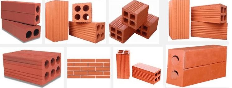 Các loại gạch xây dựng phổ biến